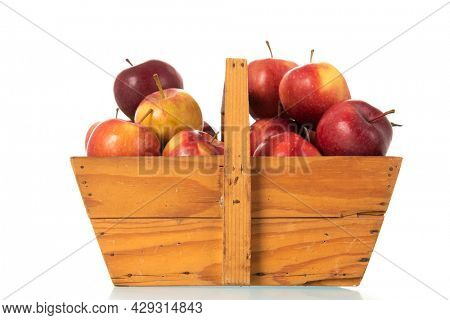 Wooden basket red apples isolated over white background