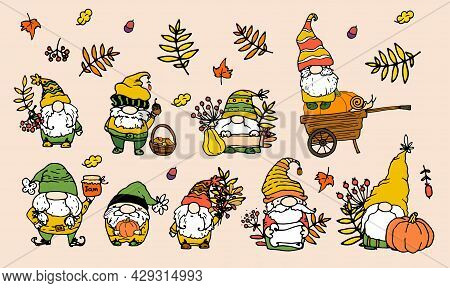 Vector Set Of Autumn Gnomes. A Collection Of Hand-drawn Dwarfs In Doodle Style With Autumn Elements