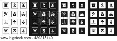 Set Krampus, Heck, Donation For Church, Crusade, Flag With Christian Cross, Church Building, Jesus C