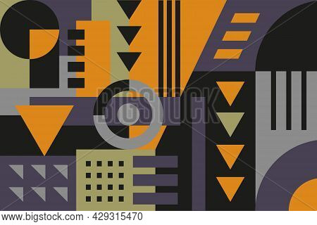 Geometric Flat Shapes Background. Geometrical Bacckground With Fractials, Shapes And Figures In Oran