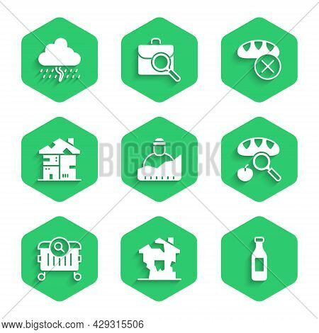 Set Growth Of Homeless, Ruined House, Bottle Water, Searching For Food, Homeless Cardboard, Donation
