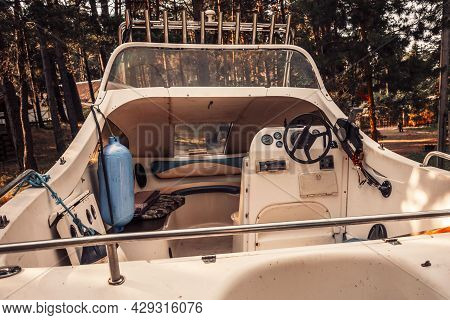 The Cockpit Of A Speedboat, The Interior Of A Pleasure Boat For Recreation And Fishing Tourists.