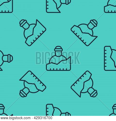 Black Line Growth Of Homeless Icon Isolated Seamless Pattern On Green Background. Homelessness Probl