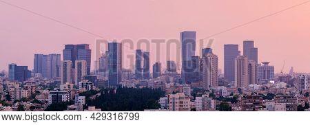 Tel Aviv Skyline, Ramat Gan and Givatayim Cityscape At Sunset,  Tel Aviv Cityscape Panorama, Israel