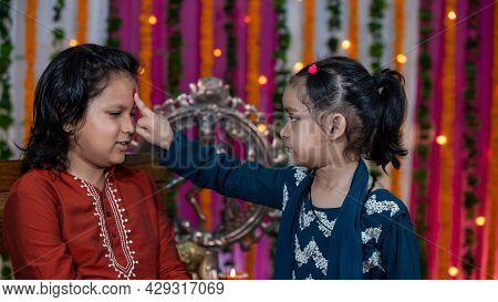 Indian Families Celebrating Raksha Bandhan Festival A Festival To Celebrate The Bond Between Brother