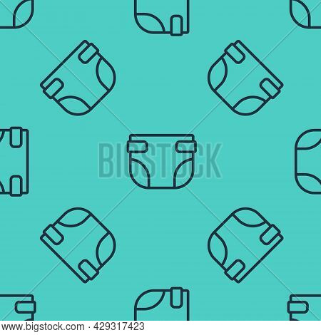 Black Line Baby Absorbent Diaper Icon Isolated Seamless Pattern On Green Background. Vector