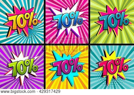Comic Text 70 Percent Quality Set. Colored Speech Bubble On Radial Background. Comics Book Explosion
