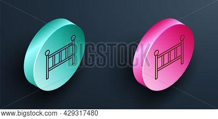 Isometric Line Baby Crib Cradle Bed Icon Isolated On Black Background. Turquoise And Pink Circle But