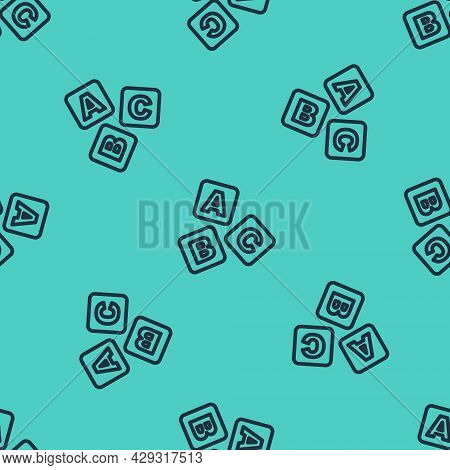 Black Line Abc Blocks Icon Isolated Seamless Pattern On Green Background. Alphabet Cubes With Letter