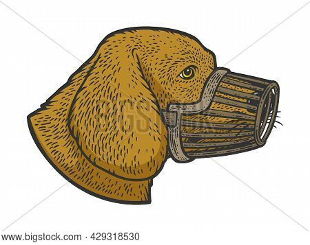 Muzzled Dog Color Sketch Engraving Vector Illustration. T-shirt Apparel Print Design. Scratch Board