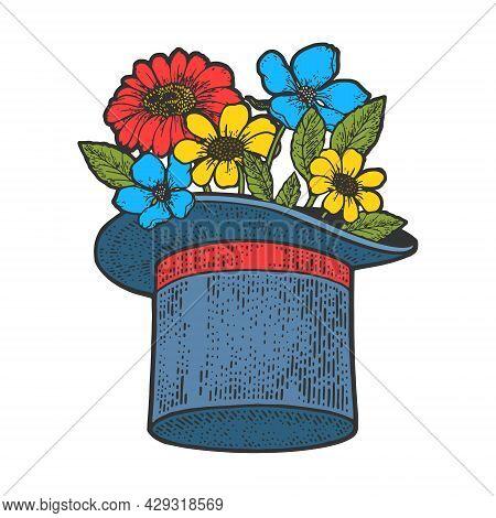 Flowers In Top Hat Cylinder Color Sketch Engraving Vector Illustration. T-shirt Apparel Print Design