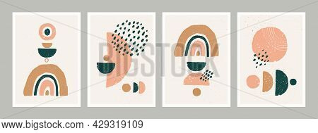 Abstract Art Minimalist Poster. Scandinavian Abstract Geometric Composition For Wall Decoration In N