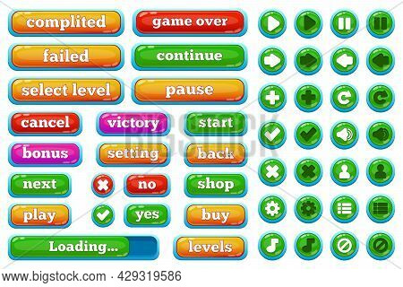 Cartoon Casual Video Games User Interface Buttons. Casual 2d Game Interface Play, Pause, Stop, Game