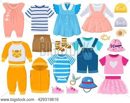 Cartoon Baby Kids Girl And Boy Clothes, Hats, Shoes. Childrens Fashion Clothes, Romper, Shorts, Dres