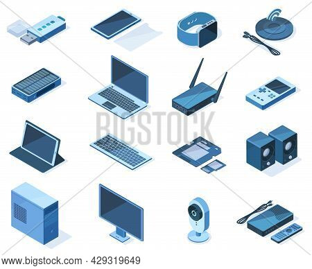 Isometric Electronic Technology 3d Wireless Gadget Devices. Network Technology Equipment, Laptop, Sm