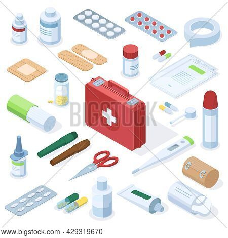 Isometric Medical Pharmacy First Aid Kit Equipment. Medical Equipment, Pharmacy Medication, Pills, P
