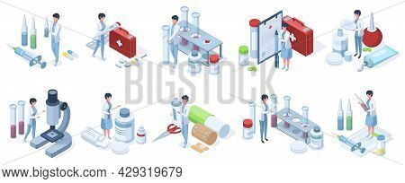 Isometric Doctors Work Pharmacy Industry, Laboratory Research. Healthcare, Medical Service, Pharmacy