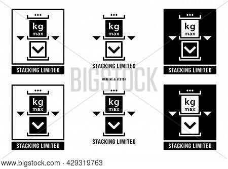 A Set Of Manipulation Symbols For Packaging Cargo Products And Goods. Marking - Stacking Is Limited