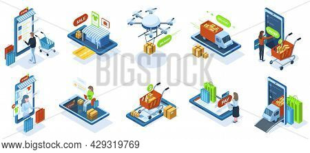 Isometric Online Shopping, E-shop Purchasing Payment. Online Shops Marketplace Customers, E-shop Pay