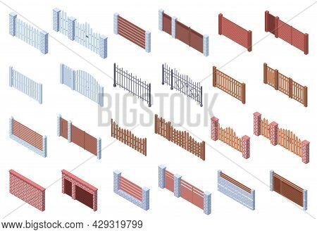 Isometric Wooden Stone Metal Architecture Gate Fences. Real Estate, Courtyard Trellises, Brick And W
