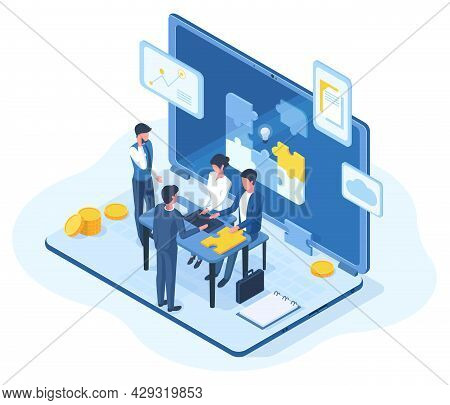 Isometric Teamwork, Brainstorming Team Meeting 3d Concept. People Creative Business Team Brainstormi