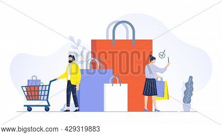 Couple Make Shopping Concept. Man And Woman Having Bags With Purchases, Male Character With Cart, Bu