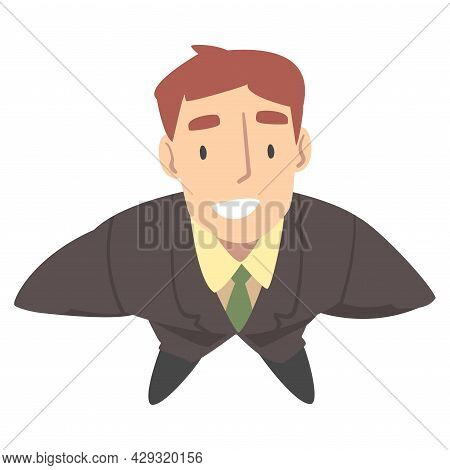 Smiling Business Man Character Wearing Tie Looking Up Above View Vector Illustration
