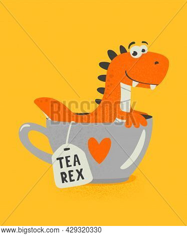 Vector Cute And Funny Textured Cartoon Dinosaur In Tea Cup. Mug With Hot Tea Beverage And Tea Rex. H