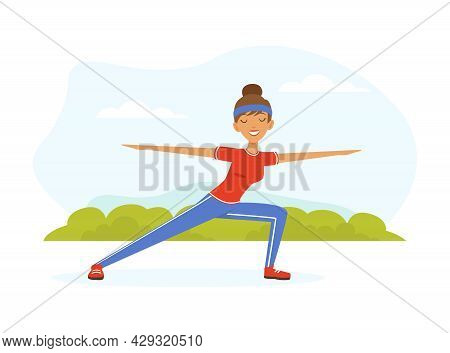 Young Woman Character With Headband And Sportswear Standing In Warrior Yoga Pose Vector Illustration