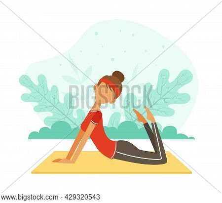 Young Woman Character With Headband And Sportswear Doing Yoga On Mat Vector Illustration