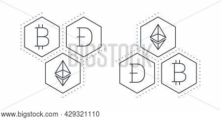 Cryptocurrencies Signs. Linear Icons. Digital Cryptographic Currency Icons. Vector Illustration