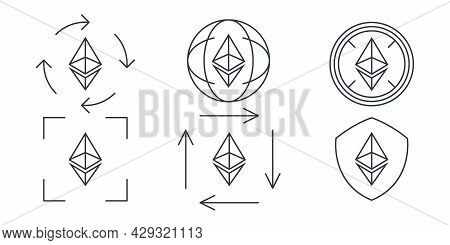 Ethereum Linear Icons. Cryptocurrency Sign Variations. Digital Cryptographic Currency Ethereum. Vect