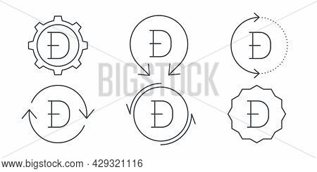 Dogecoin Linear Icons. Cryptocurrency Sign Variations. Digital Cryptographic Currency Dogecoin. Vect
