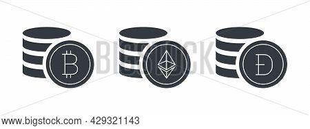 Cryptocurrencies Coins. Cryptocurrency Icons. Digital Cryptographic Currency Icons. Vector Illustrat
