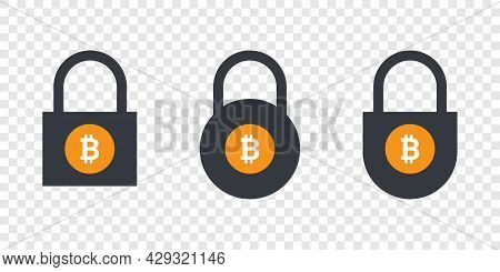 Bitcoin Icons. Cryptocurrency Icons In Locks. Digital Cryptographic Currency Icons. Vector Illustrat