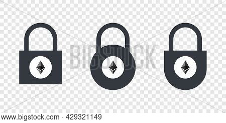 Ethereum Icons. Cryptocurrency Icons In Locks. Digital Cryptographic Currency Icons. Vector Illustra