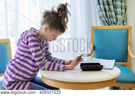 Girl Child Of Pre-adolescent Age In Office Of Therapist, Social Worker, Teacher, Psychologist, Couns
