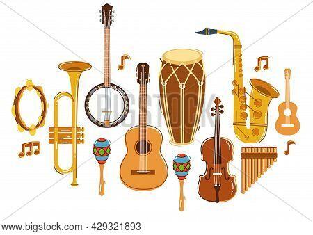 Latin Music Band Salsa Vector Flat Illustration Isolated Over White Background, Live Sound Festival