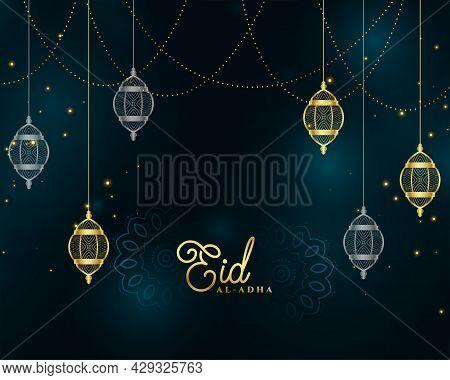 Eid Al Adha Islamic Golden Premium Background Design Vector Illustration