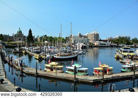 Inner Harbor Victoria Bc, Canada. August 2nd 2021. Victoria\'s World Famous Inner Harbor Is A Meetin