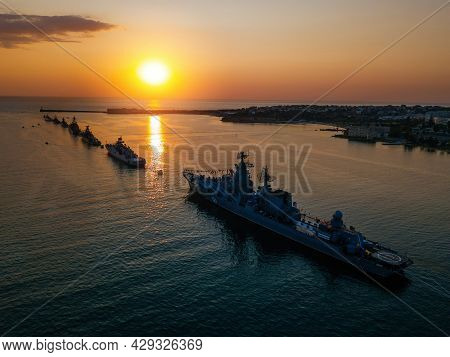 Russian Fleet Parade In Sevastopol Bay At Navy Day At The Sunset, Aerial View