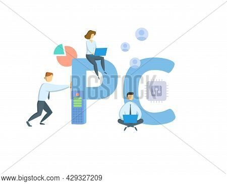 Pc, Personal Computer. Concept With Keyword, People And Icons. Flat Vector Illustration. Isolated On