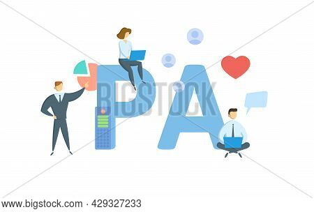Pa, Physician Assistant. Concept With Keyword, People And Icons. Flat Vector Illustration. Isolated