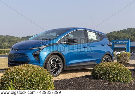 West Harrison - Circa August 2021: Chevrolet Bolt Ev Electric Vehicle Display. Chevy Is A Division O
