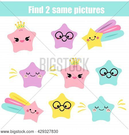 Children Educational Game. Find Two Same Pictures Of Cute Stars. Activity Fun Page For Toddlers And