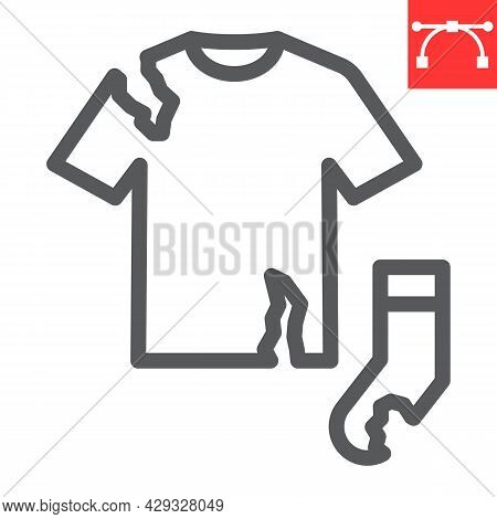 Textile Waste Line Icon, Recycle And Torn T-shirt, Torn Sock Vector Icon, Vector Graphics, Editable