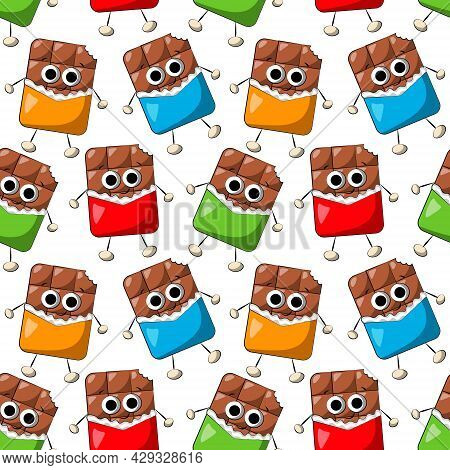 Seamless Vector Pattern With Cute Cartoon Chocolate Character In Wrapper