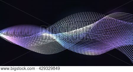 Nano Wave Lines With Dot Particles Pattern. Abstract Synergy Waves, Dynamic Swirl Curves. Glow Light
