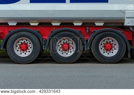 Front View On Truck Wheels And Tires On Truck Chassis. Truck Chassis Parts Details Devices Equipment