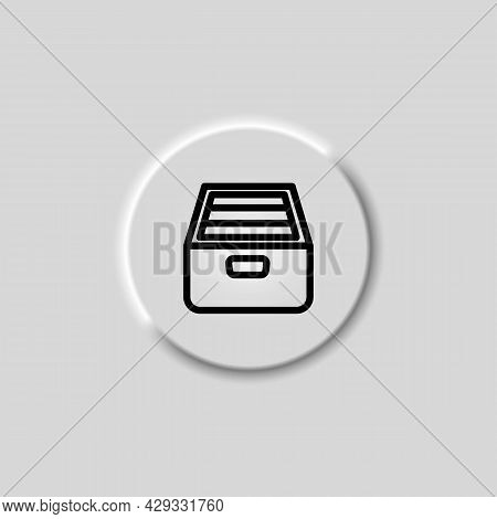 Drawer Archive Directory With Documents Black Icon On Button. Trendy Flat Isolated Symbol Sign Can B